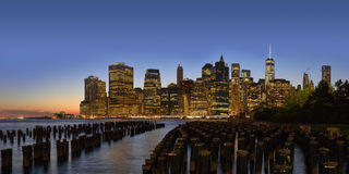 Dusk Manhattan panorama Stock Images