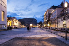 Dusk at the Museumsquartier of the city of Vienna - Austria stock photo