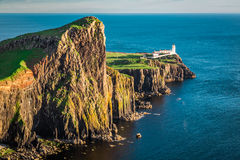 Dusk at the Neist point lighthouse in Scotland Royalty Free Stock Photos