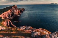 Dusk at the Neist point lighthouse, Scotland, UK. Europe Royalty Free Stock Photo
