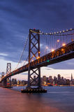 Dusk over Bay Bridge and San Francisco Skyline, California Royalty Free Stock Photos