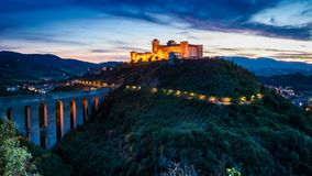 Dusk over beautiful castle in Preci, Italy stock video footage