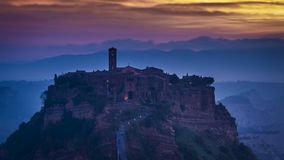 Dusk over Civita di Bagnoregio in Tuscany, Italy stock footage