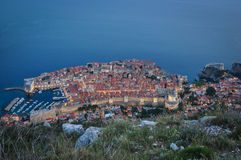 Dusk over Dubrovnik. Night falls over the city of Dubrovnik, viewed from Srd Hill Stock Photos