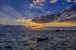 Dusk over the harbor of Thessaloniki Royalty Free Stock Photography