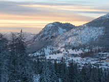 Dusk over Hirschberg and Oberjoch Royalty Free Stock Images