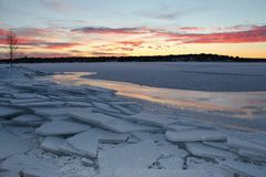 Dusk over the ice. Frosty ice floes at Gültzaudden in Lule Royalty Free Stock Image