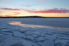 Dusk over the ice. Frosty ice floes at Gültzaudden in Lule Royalty Free Stock Photography