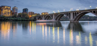 Dusk over Key Bridge and Rosslyn from Georgetown in Washington DC, USA. Stock Photos