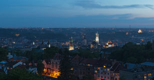 Dusk over Lviv Royalty Free Stock Photo