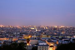 Dusk over Paris - wide panoramics stock photo