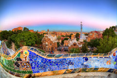 Dusk over Park Guell, Barcelona, Spain. Twilight over outside of Park Guell in Barcelona, Spain Royalty Free Stock Photos