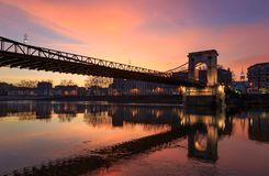 Dusk over Pont Masaryk. Royalty Free Stock Photography