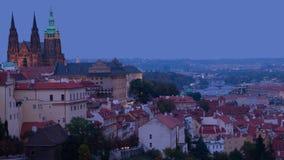 Dusk over Prague. Time Lapse 4K stock footage