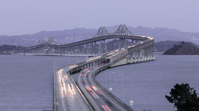 Dusk Over The Richmond-San Rafael Bridge stock images