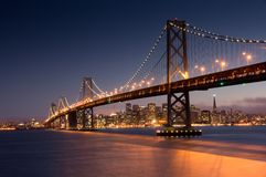 San Francisco-Oakland Bay Bridge and Reflections Stock Photos