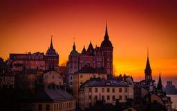 Stockholm Twilight sunset scene, Sweden. Dusk over  the spires of Sodermalm, Stockholm, Sweden Royalty Free Stock Images