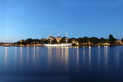 Dusk over Stockholm Harbor Royalty Free Stock Photo