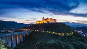 Dusk over stunning castle in Preci, Italy, Umbria stock video footage