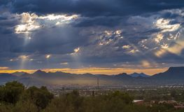 Dusk over suburb of Tucson. Tucson area during sunset time royalty free stock images