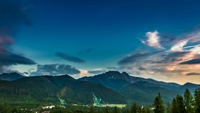 Dusk over the Tatra Mountains in summer stock footage