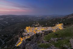 Dusk over Zuheros in southern Spain stock image