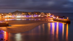 Dusk overlooking St Ives Cornwall. Night shot overlooking St Ives Harbour Cornwall England UK Europe Royalty Free Stock Image