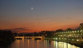 dusk po river turin Στοκ εικόνες με δικαίωμα ελεύθερης χρήσης