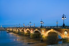 Dusk At The Pont De Pierre Stock Photos