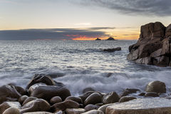 Dusk at Porth Nanven Cove Stock Photography
