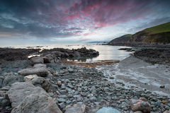 Dusk at Portwrinkle in Cornwall Stock Images