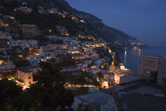 Dusk in Positano, Italy Royalty Free Stock Photos