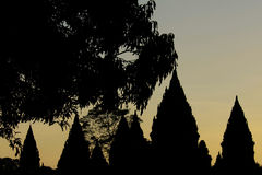 Dusk at Prambanan temple Royalty Free Stock Photography