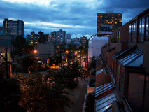 Dusk on Robson St, Vancouver BC Royalty Free Stock Photos