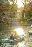 Dusk and rowing boat. Shooting location :  Musashino-shi, Tokyo royalty free stock photo