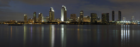 Dusk, San Diego downtown. Panorama of San Diego downtown at dusk, shot from Coronado island Royalty Free Stock Image