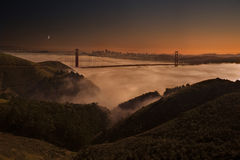 Dusk at San Francisco. A beautiful sunset and moon rise over San Francisco Bay Royalty Free Stock Photography