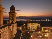 Dusk in Santiago de Cuba. Aerial view, at a dusk in Santiago de Cuba royalty free stock photos