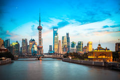 Dusk scene of shanghai skyline and suzhou river Stock Images