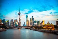 Dusk scene of shanghai skyline and suzhou river Stock Images