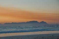 Dusk seaside. Landscape with color hues stock images