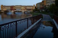 Dusk sets on a walkway near the Pontiveccio Bridge over Lake Las Vegas. royalty free stock image