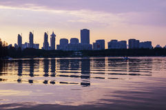 DUSK2. Shanghai century park. This is a very beautiful place, the lake reflected the city building, nostalgia Stock Photo