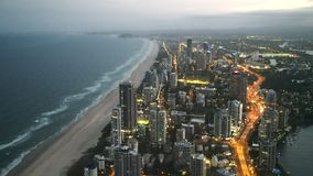 Dusk view of surfers paradise from the Q1 building. Dusk shot of surfers paradise from the Q1 building in Queensland, Australia stock video footage
