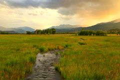 DUsk sky above a stream in Heber Valley. Stock Images
