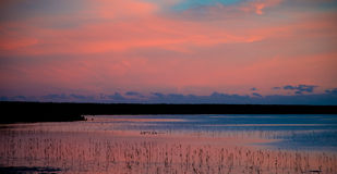 Dusk Sky over waterway Royalty Free Stock Images