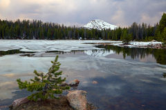 Dusk sky in the Uinta mountains. Spring thaw in the Uinta Mountains, Utah, USA Royalty Free Stock Photo
