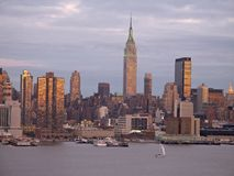 Dusk Skyline. This is a early evening shot of the New York City skyline royalty free stock photos