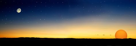 Dusk Stars Sun Royalty Free Stock Photo