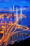 Dusk of Stonecutters Bridge royalty free stock photography